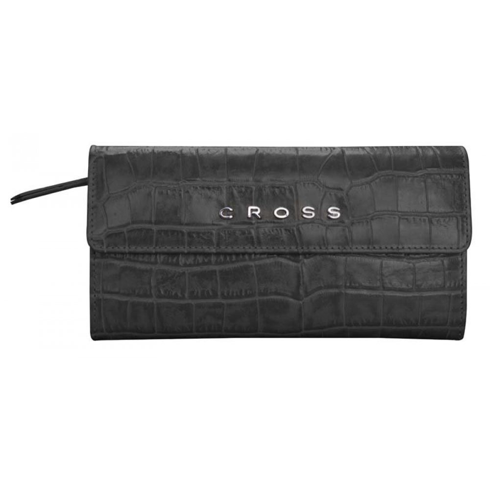 Кошелёк Cross Bebe Coco, кожа наппа фактурная, цвет чёрный/розовый, 19.5 х 10.5 х 3 см AC578302-1