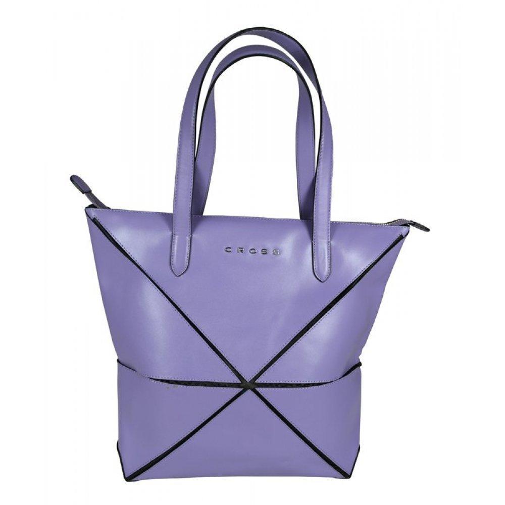 Сумка наплечная женская, Cross Origami, кожа наппа гладкая+ткань, цвет фиолетовый, 38 х 32 х 13 см AC751302-8