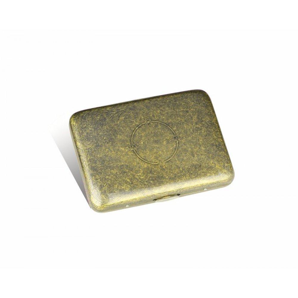 Портсигар S.Quire, сталь, золотистый цвет с рисунком, 94*71*20 мм CS320-013GT