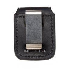 Чехол Zippo для зажигалки из натуральной кожи с клипом, черный, 57х30x75 мм LPCBK