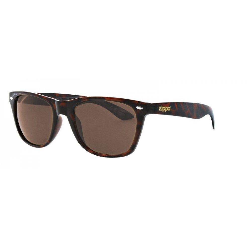 Очки солнцезащитные ZIPPO, коричнево-чёрные, оправа, линзы и дужки из поликарбоната OB02-33