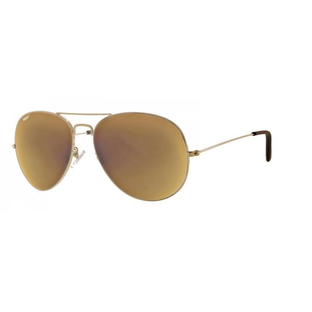 Очки солнцезащитные ZIPPO, золотистые, оправа из меди и пластика, линзы и дужки из поликарбоната OB36-04