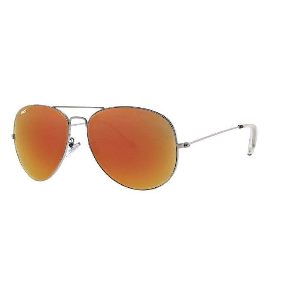 Очки солнцезащитные ZIPPO, серебристые, оправа из меди и пластика, линзы и дужки из поликарбоната OB36-07