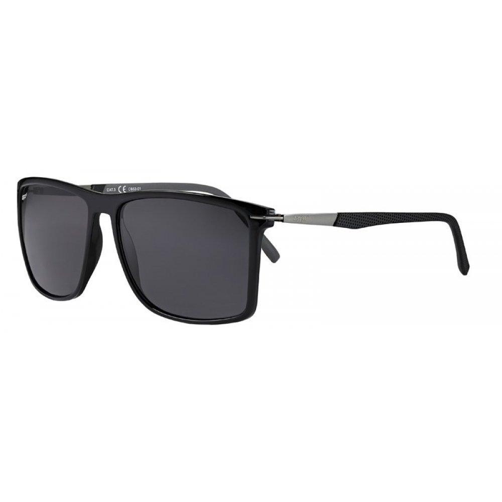 Очки солнцезащитные ZIPPO, чёрные, оправа и линзы из поликарбоната, дужка из стали и пластика OB53-01