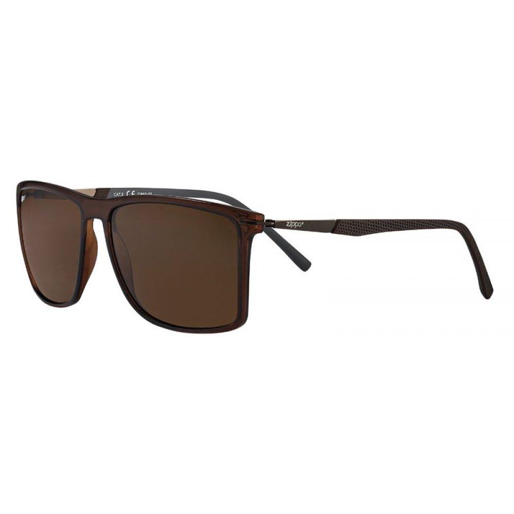 Очки солнцезащитные ZIPPO, коричневые, оправа и линзы из поликарбоната, дужка из стали и пластика OB53-03