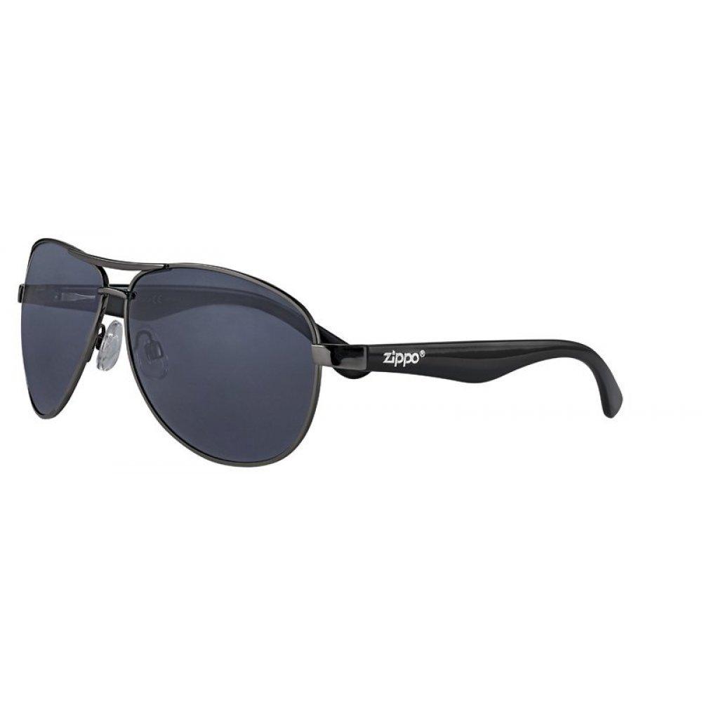 Очки солнцезащитные ZIPPO, чёрные, оправа из металла, линзы и дужки из поликарбоната OB56-01