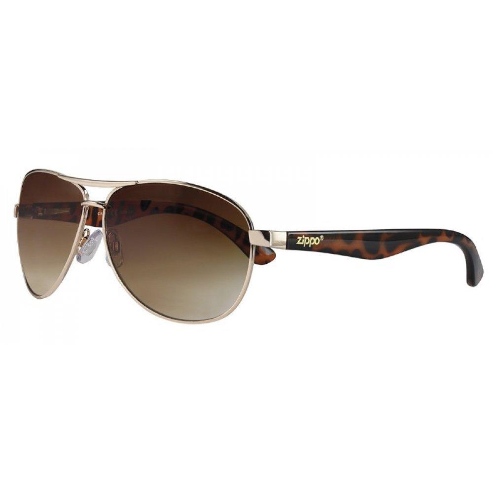 Очки солнцезащитные ZIPPO, коричневые, оправа из металла, линзы и дужки из поликарбоната OB56-02