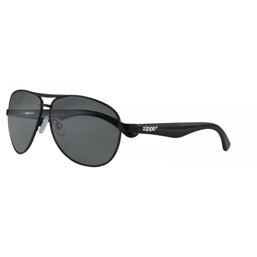 Очки солнцезащитные ZIPPO, чёрные, оправа из металла, линзы и дужки из поликарбоната OB56-03