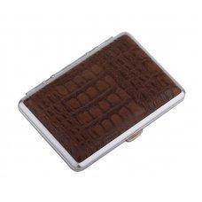Портсигар S.Quire, сталь+искусственная кожа с металлическими клипами, коричневый цвет, 74*95*18 мм S300B-3513-12-2