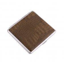 Портсигар S.Quire, сталь+искусственная кожа с металлическими клипами, коричневый цвет, 96*93*19 мм S300B-3513-12
