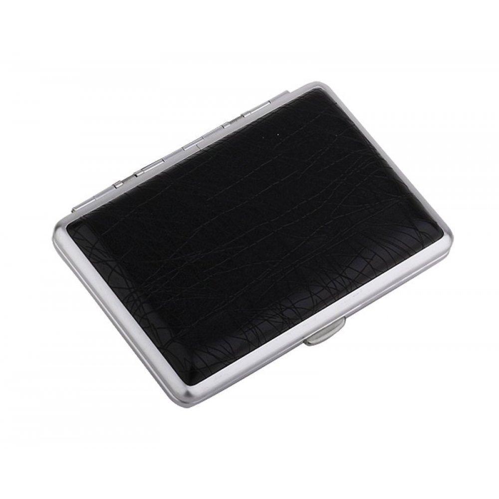 Портсигар S.Quire, сталь+искусственная кожа с металлическими клипами, черный цвет, 74*95*18 мм S300B-3713-16-2
