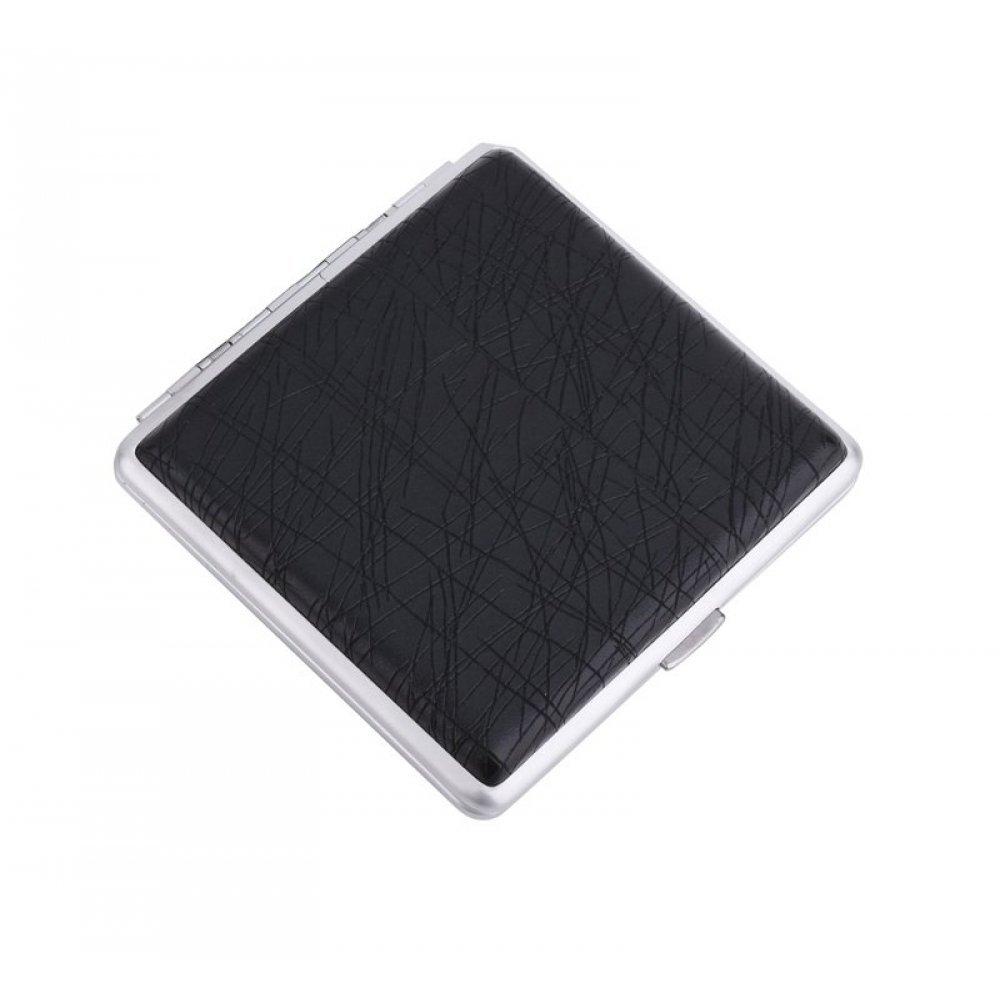 Портсигар S.Quire, сталь+искусственная кожа с металлическими клипами, черный цвет, 96*93*19 мм S300B-3713-16