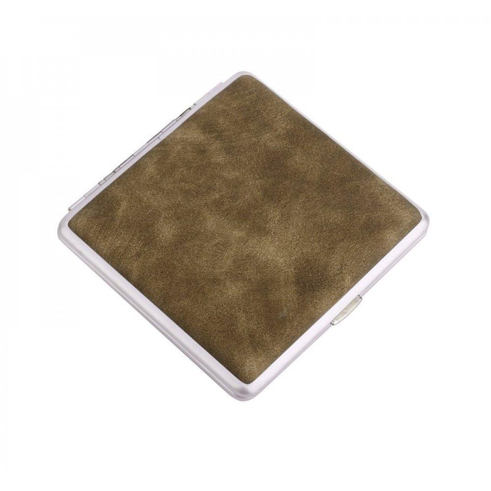 Портсигар S.Quire, сталь+искусственная кожа с металлическими клипами, бежевый цвет, 96*93*19 мм S300B-3713-17